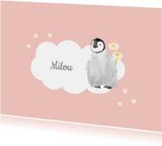 Kinderrouwkaart meisje pinguin