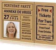 """Leuke uitnodiging """"Free Tickets For Two"""" voor een vrouw"""