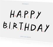 Leuke verjaardagskaart happy birthday letters puntjes