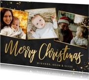 Liggende fotocollage kerstkaart zwart met goud en 3 foto's