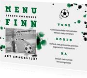 Menukaart communie voetbal met foto en spetters