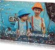 Moderne communie uitnodiging fotokaart voor 2 personen