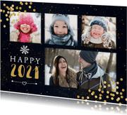 """Neujahrskarte """"Happy 2020"""" mit vier Fotos und Konfetti"""