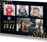 """Neujahrskarte """"Happy 2022"""" mit vier Fotos und Konfetti"""