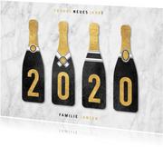 Neujahrskarte Sektflaschen mit 2020