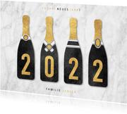 Neujahrskarte Sektflaschen mit 2022