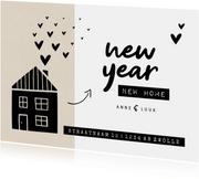 New year new home kraft huisje met hartjes