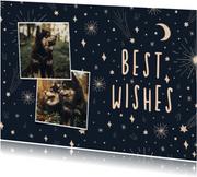 Nieuwjaarskaart 2 foto's, sterren en vuurwerk
