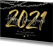 Nieuwjaarskaart 2021 in goud happy new year