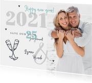 Nieuwjaarskaart 2021 save the date jubileum foto champagne
