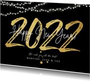 Nieuwjaarskaart 2022 in goud happy new year