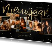 Nieuwjaarskaart fotocollage met krijtbord en sterren