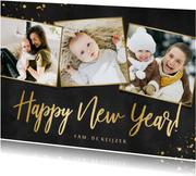 Nieuwjaarskaart fotocollage zwart met goud en 3 foto's