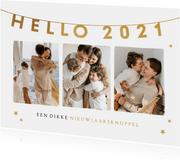 Nieuwjaarskaart Hello 2021 fotocollage gouden sterren
