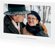 Nieuwjaarskaart met 1 grote foto en aanpasbare tekst