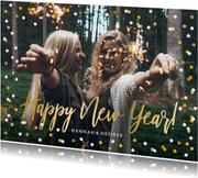 Nieuwjaarskaart met grote foto, goud en confetti kader