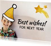 Nieuwjaarskaart muts goud ster