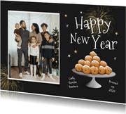Nieuwjaarskaart oliebollen happy new year foto sterren