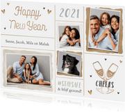 Nieuwjaarskaart persoonlijk hartjes foto's champagne liefde