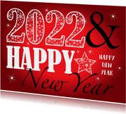 Nieuwjaarskaart rechthoekig typografie rood