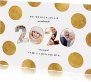 Nieuwjaarskaart stippen met speelse 2020 fotocollage