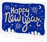 Nieuwjaarskaart tekst vuurwerk blauw