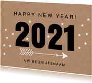 Nieuwjaarskaart typografie kraftlook
