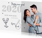 Nieuwjaarskaart zilver doodle champagne foto save the date