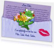 Opkikkertje met brief en diverse bloemen