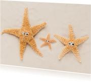 Felicitatiekaarten - Ouders en baby - zeesterren op strand