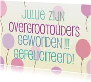 Felicitatiekaarten - overgrootouders -roze