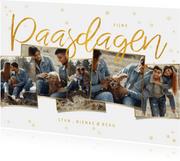 Paaskaart met gouden confetti en fotocollage