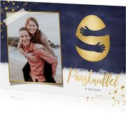 Paaskaart paasknuffel met gouden ei en eigen foto