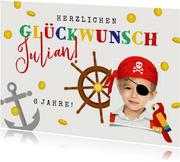 Piraten-Glückwunschkarte zum Geburtstag