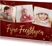 Rode kerstkaart fotocollage 3 foto's gouden tekst