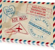 Samenwonenkaart stoer airmail stempels