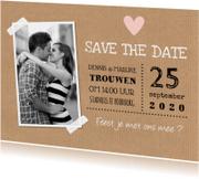 Save the Date kaart foto kraft hartje