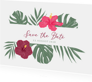 Save-the-Date-Karte mit Hibiskus