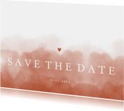 Save the date stijlvol terra roze waterverf met hartje