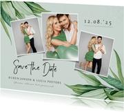 Save the date trouwkaart botanisch groen bladeren stijlvol