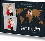 Save the date trouwkaart wereld kurk punaise foto's