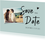 Save the datekaart met foto en trendy letterype