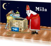Sinterklaas - Sint en piet bij de schoorsteen