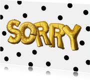 Sorry kaart illustratie goudkleurig