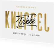 Sterkte kaart dikke knuffel typografie goud
