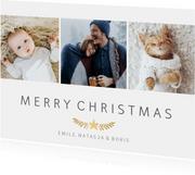 Stijlvolle kerstkaart met fotocollage met 3 foto's en takje