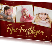 Stijlvolle rode fotocollage kerstkaart met gouden tekst