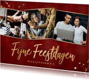 Stijlvolle rode zakelijke kerstkaart foto's en gouden tekst