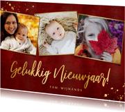 Stijlvolle rood gelukkig nieuwjaar in goud fotocollage