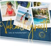Stijlvolle vakantiegroet fotocollage met polaroids en goud